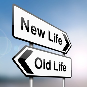 Sign pointing back to old life and forward toward new life. This is symbolic of how Wealthy Affiliate can dramatically change your life for the better. http://ScamAvenger.com