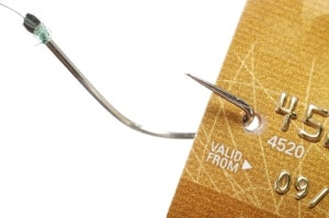 image of a fishing Hook and Credit Card representing how some scammers get people's credit cards by offering them something really cheap that they must pay with their credit card then pressuring them to buy something more expensive. How to Really Make Money Online and Never Get Scammed