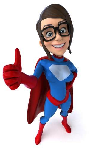 Cartoon super hero giving a thumbs up