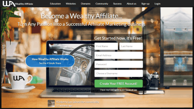 Image of the Wealthy Affiliate landing page. This is where it all happens. Membership is free. http://ScamAvenger.com