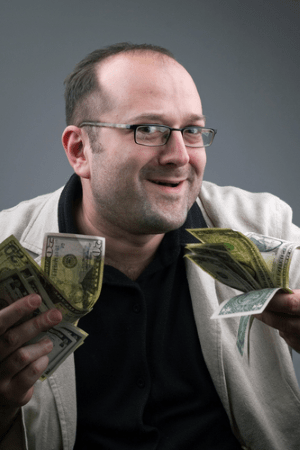 Image of a Slime Ball with money. If a make money online offer is flashing money, he is trying to push your greed button. Don't fall for it. LearnHow to Really Make Money Online and Never Get Scammed at http://ScamAvenger.com