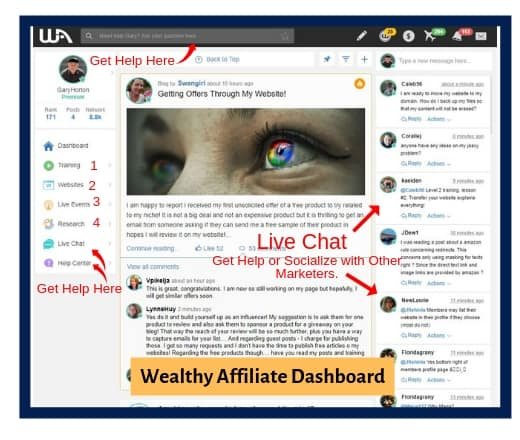 Wealthy Affiliate Dashboard