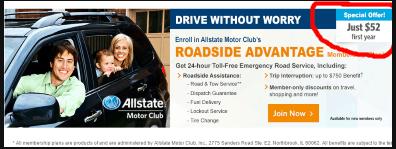 screen shot of Allstate roadside assistance ofer
