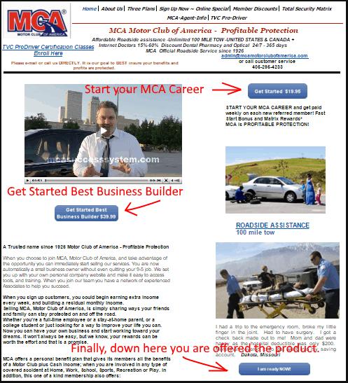 screen shot of Motor Club of America Sales Associates web site