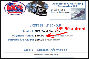 screen shot of Motor Club of America showing how the price doubles