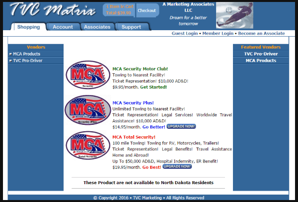 screen shot of Motor Club of America official website