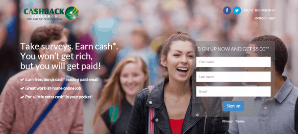 CashBack Research sign in page