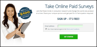 Image of Vindale Research Signup Page