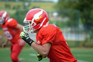 Football player in red