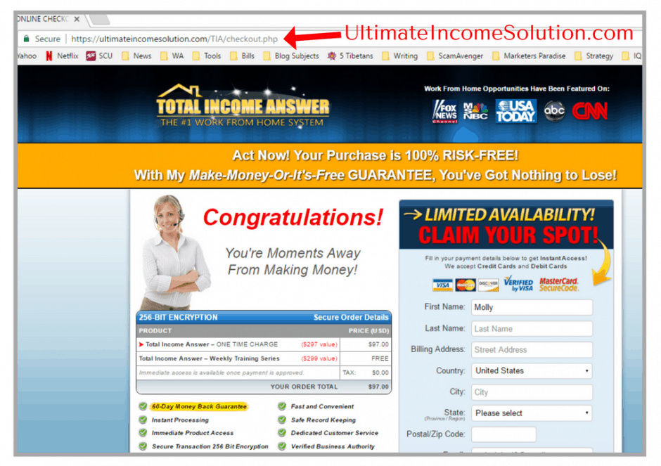 is total income answer a scam