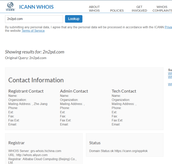 2n2pd.com is registered in Beijing. See bottom line.