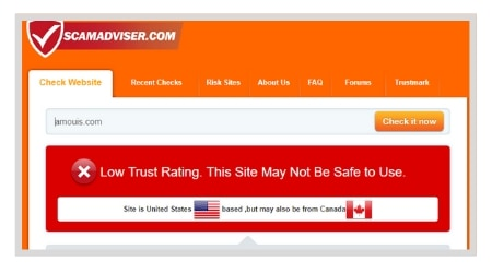 Amouis.com ScamAdviser Low Trust Rating