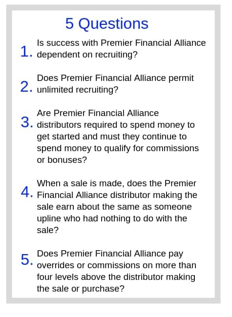 Premier Financial Alliance Questions