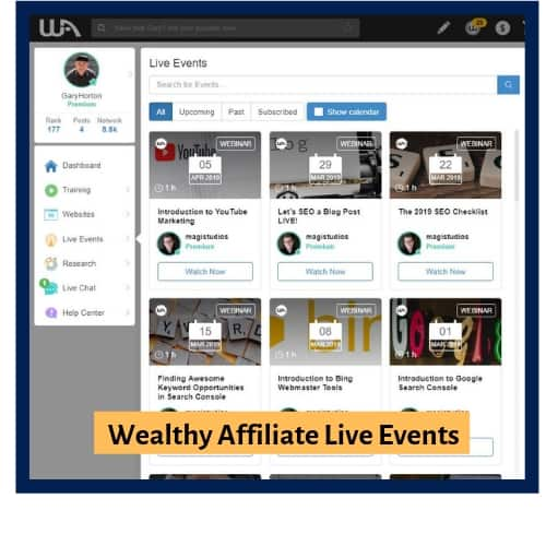 Wealthy Affiliate Weekly Live Even Training