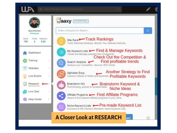 Wealthy Affiliate Research and Jaaxy Keyword Tool