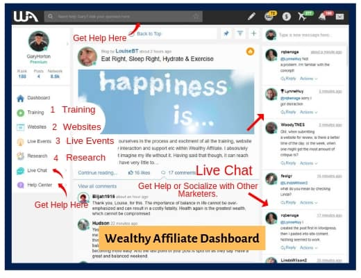 Wealthy Affiliate Member Dashboard