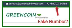 Green Coin logo and fake number