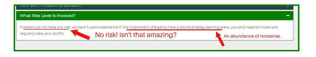 Greencoin no risk